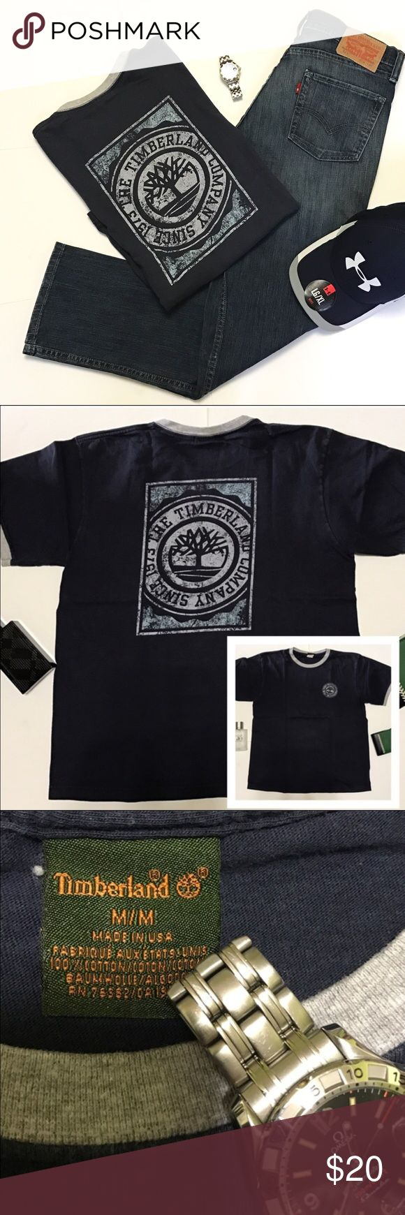 🌎Timber Graphic T-shirt This Timber Graphic T-shirt is made in USA. Good condition except normal sign of wear. Navy Blue color. No Trade. Open to offer. Timberland Shirts