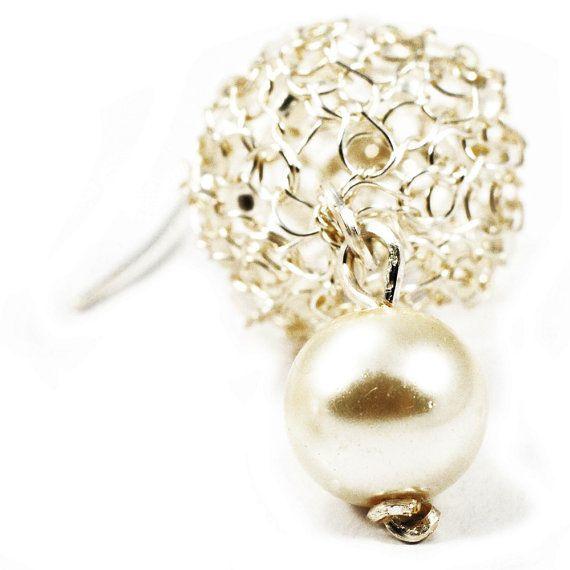 Pearl Dangle Earrings Elegant Silver Plated, #Handmade Bridal Earrings, Wire #Crochet Earrings:  Wire crochet silver beaded earrings with pearls.  Unique, bright and elegant ... #jewelry #boho #etsy #epiconetsy #shopping #shopsmall #jewelryonetsy #etsyseller