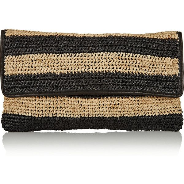 Maje Leather-trimmed striped raffia clutch ($125) ❤ liked on Polyvore featuring bags, handbags, clutches, black, maje, raffia purse, stripe handbag, stripe purse and striped handbag