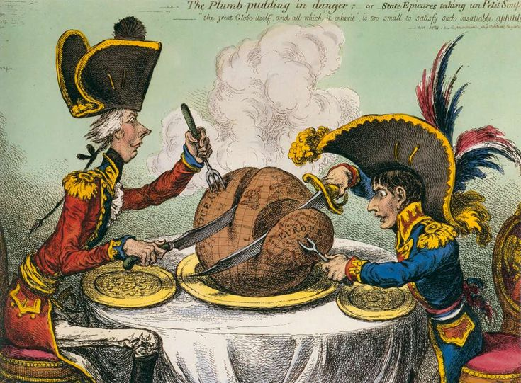 Pitt taking a decidedly larger piece of the pie than Napoleon. James Gillray 1805