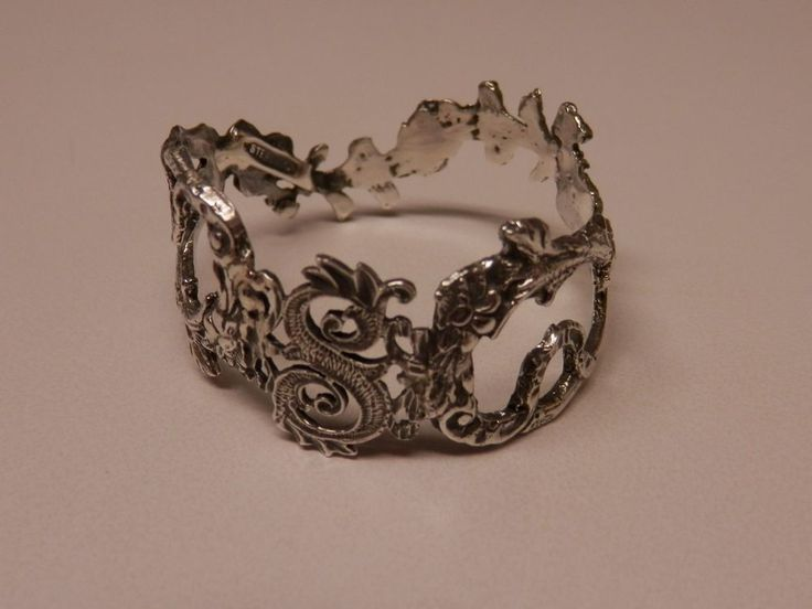 Napkin Ring with a ( Initial ( S )Rose Vine Design Sterling Silver