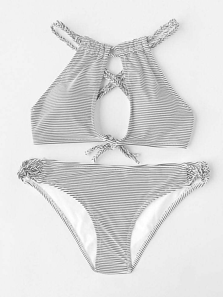 Shop Striped Print Braided Strap Keyhole Bikini Set online. SheIn offers Striped Print Braided Strap Keyhole Bikini Set & more to fit your fashionable needs.