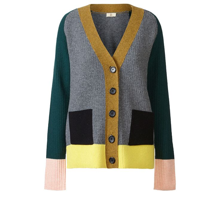 Orla Kiely: Easy fit multi coloured cardigan with textured knit and black buttons. Perfect worn with dresses or jeans. Dry clean only.    Length: 65.5cm (high shoulder point)