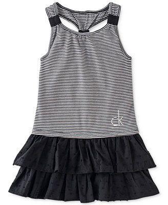 Calvin Klein Little Girls' Striped & Ruffled Dress