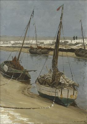 'Ludolph' Georg Julius Berkemeier (1864-1930) Fishing boats on the Uitwatering in Katwijk aan Zee at low tide, oil on panel. Collection Simonis & Buunk, The Netherlands