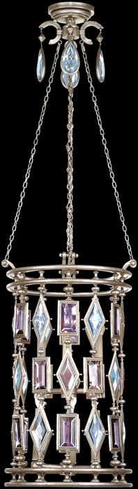 Vintage Silver Leaf Finish With Multi Colored Crystal Gems Of Amethyst Tourmaline And Aquamarine