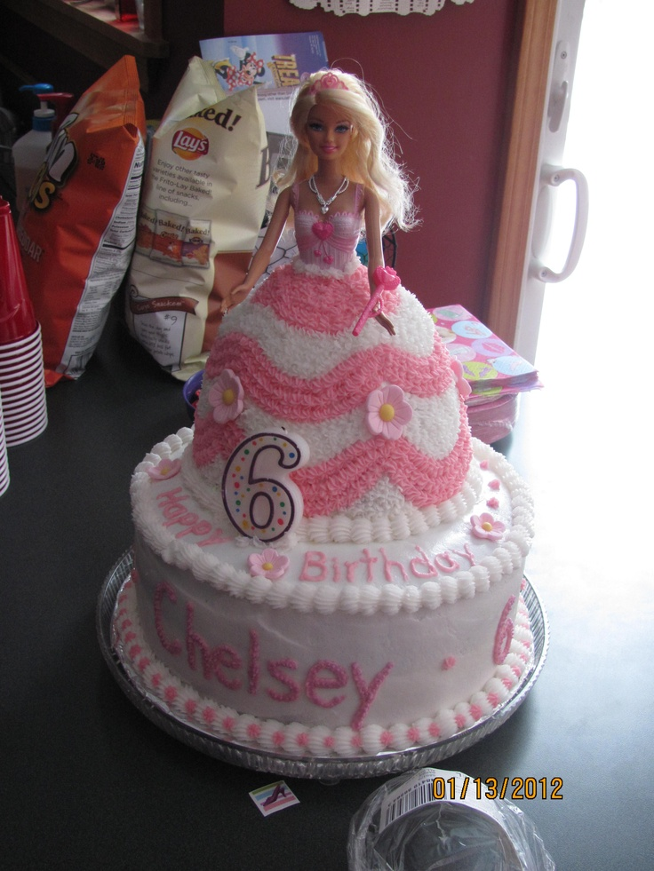 barbie cake.i really like the dress cake on top of another cake