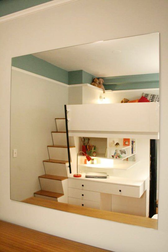 Before & After: Small City Bedroom To Custom Lofted Bed & Desk. Pretty smart!