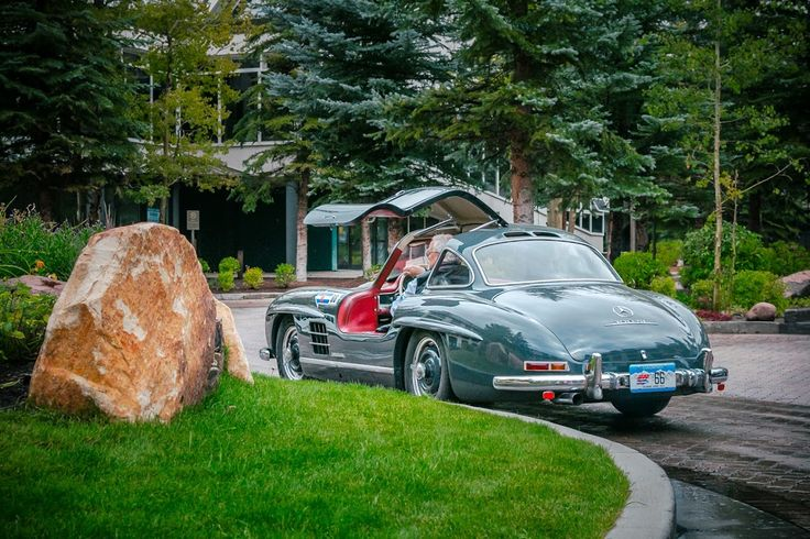 The Mercedes Benz #300SL was distinguished by its signature #gullwing doors, but it also boasted the highest top speed of its day and the first direct injection engine in a series production vehicle. (cc: Mercedes-Benz Classic Center USA). Photo c/o Royce Rumsey