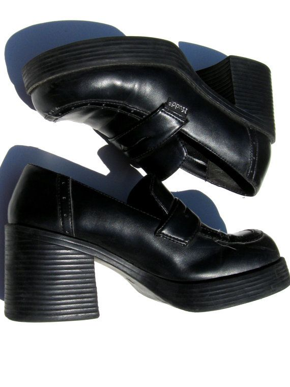 Vintage 90's 1990's Nineties Women Teen Grunge Goth by DelaEpoca, $21.99 - Oh my gosh I remember chunky heels! Haha At the age of 25 clothes I used to wear in middle school are officially looking ridiculous. These might be the exact pair I used to have as I see they're Mudd brand. I was obsessed with that label in 6th-8th grade. I know, very high fashion of me ;-P.