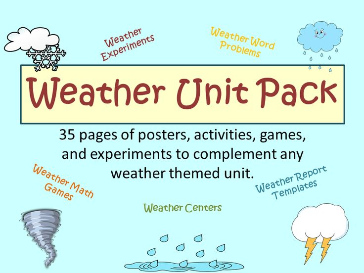 WEATHER UNIT PACK. 35 pages of activities, games, experiments, and more... Weather themed.