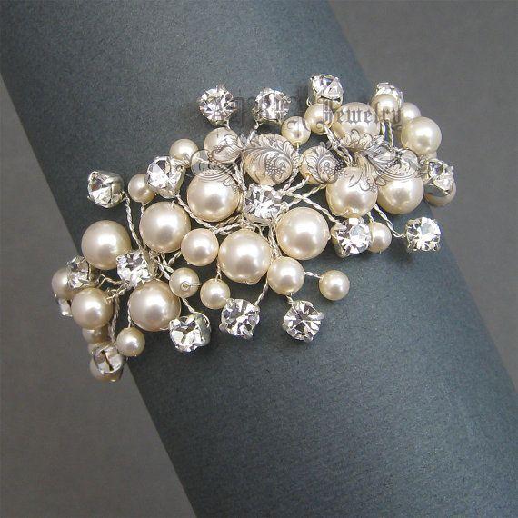 Pulseras de novia marfil pulsera novia perla, diamantes y perlas de vid, joyería nupcial, boda joyería para novias, T1511301