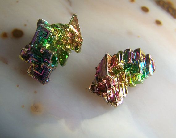 2 Bismuth Specimens Mineral Crystal Wire Wrap Stone