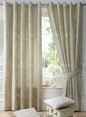 Nostalgia Script Natural Eyelet Curtains | Eyelet Curtains | Curtains | linen4less.co.uk