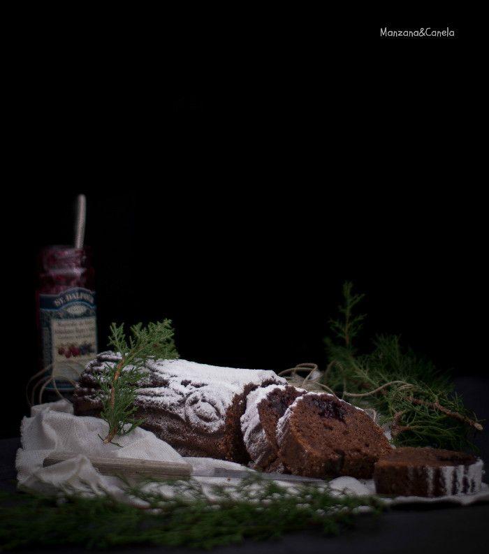 Tronco de Navidad de chocolate, almendra y arándanos #bouchenoel #Christmas