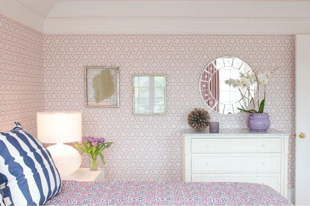 Nightingale Design - girl's rooms - Manuel Canovas Trellis Wallpaper, girl bedroom, girls bedroom, pink and blue girl room, pink and blue gi...