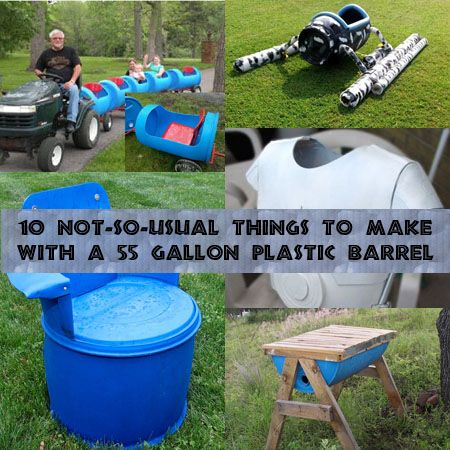 10-not-so-usual-projects-for-55-gallon-barrels I like the train cars behind the riding lawnmower.