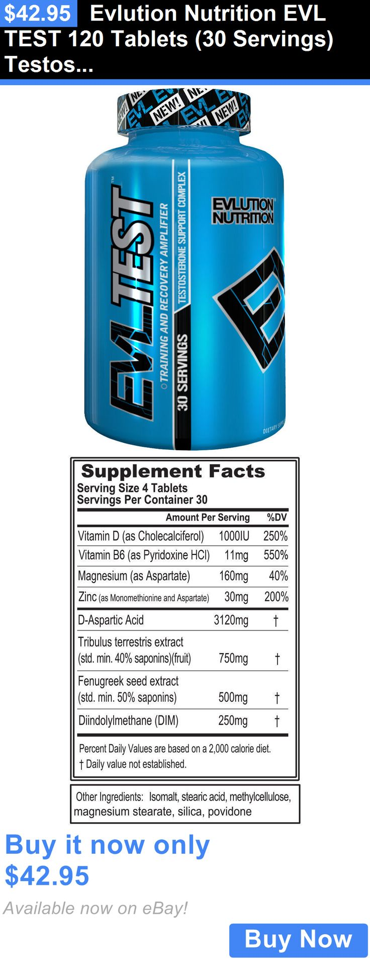 Health And Fitness: Evlution Nutrition Evl Test 120 Tablets (30 Servings) Testosterone Booster - New BUY IT NOW ONLY: $42.95