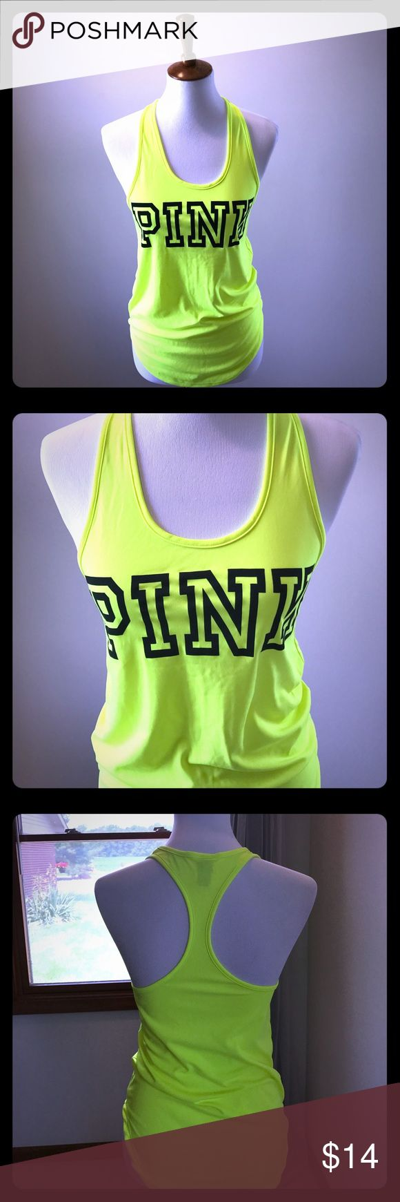 [VS PINK] Neon Yellow Razorback Tank Top [VS PINK] Neon Yellow Razorback Tank Top in Size XS - 100% polyester material - Worn once....Excellent Condition!! PINK Victoria's Secret Tops Tank Tops