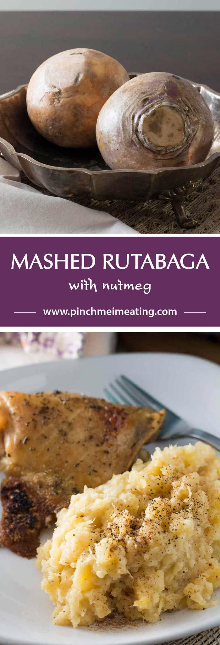 Mashed rutabaga is a delicious, naturally sweet low-carb Thanksgiving side dish made even better with a little nutmeg. You won't want to go back to potatoes! | www.pinchmeimeating.com