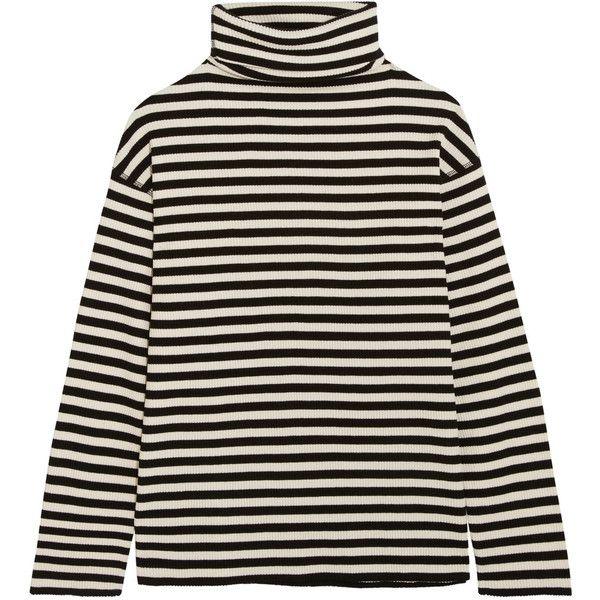 SJYP Steve J & Yoni P Embroidered striped cotton-blend turtleneck top (€165) ❤ liked on Polyvore featuring tops, black, ribbed top, striped turtleneck, turtle neck ribbed top, polo neck top and turtleneck top