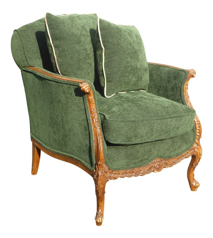 Vintage French Louis Xv Style Forest Green Velvet Arm