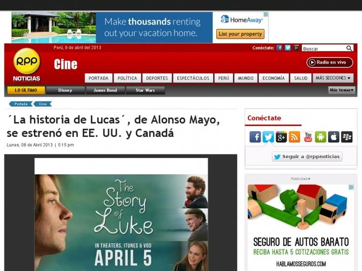 """La multipremiada opera prima del director peruano Alonso Mayo se estrenó con éxito el 5 de abril, en Estados Unidos y Canadá. """"La Historia de Lucas"""" es una película independiente que aborda  las vivencias de un joven con autismo que después de haber estado protegido toda su vida, se embarca en la búsqueda de trabajo y amor."""