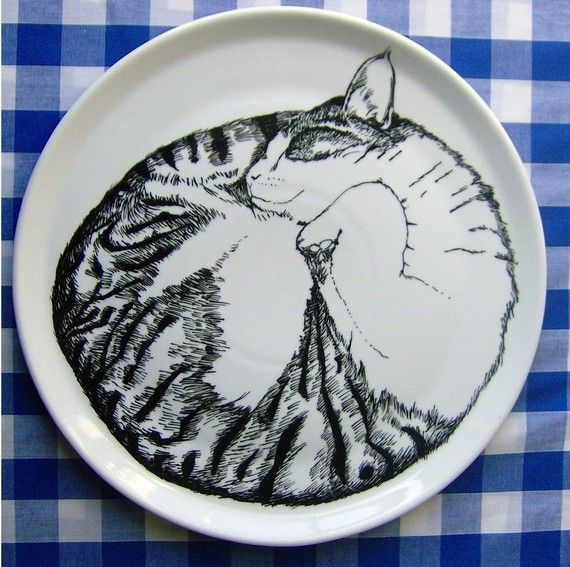 Hand Drawn Serving Plate  Cat Sleeping by jimbobart on Etsy, $69.00