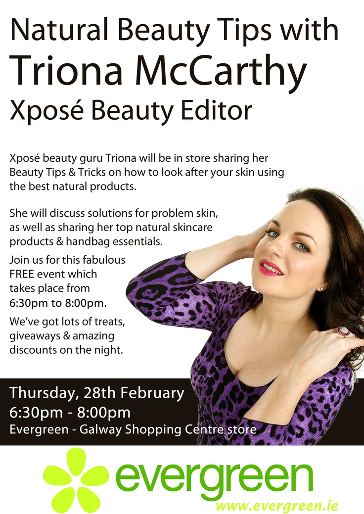 Join us for an evening of Natural Beauty Tips & Tricks with Xpose Beauty Editor @3namc.  The event takes place on Thursday, 28th February from 6:30 - 8:00pm.