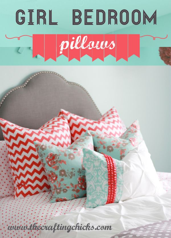 Girl Bedroom Design Part 2-Pillows! via @craftingchicks