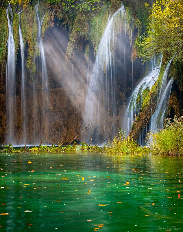Light and waterfalls in Plitvice Lakes National Park, Croatia