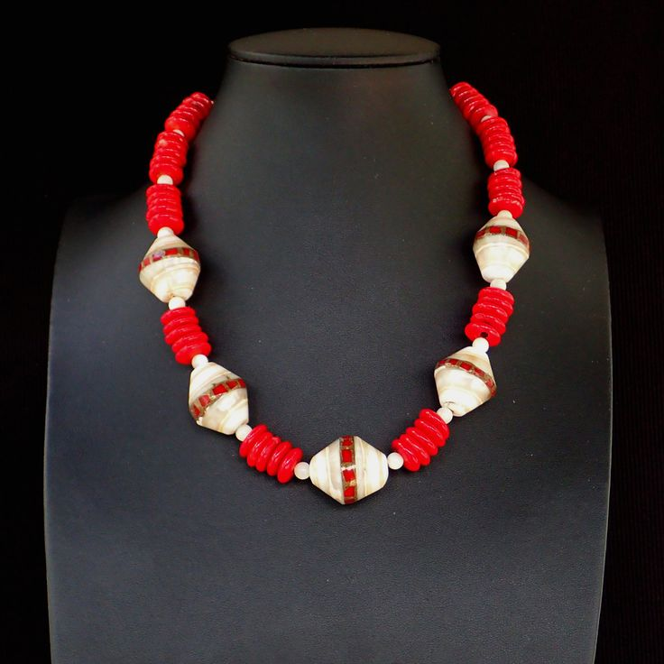 Necklace from mother of pearl with embodied coral & coral round slices. Silver clasp. Statement, handmade, gemstone,natural, red colour,OOAK by Menir on Etsy