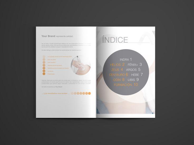 Diseño Gráfico para Catálogo de productos de Aparatología (Láser de Diodo, Láser lipolítico, Cavitación, Radiofrecuencia Monopolar, Radiofrecuencia Tripolar, Radiofrecuencia Fraccional).