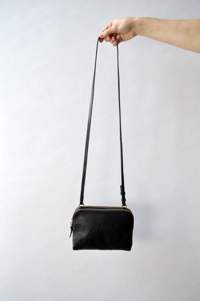 Il Bisonte Double Zip Shoulder Bag, Black – Una