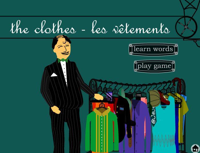 Jeu de vocabulaire sur les vêtements. Il est gratuit et intéractif. Les élèves regardent des images et cliquent les mots qui correspondent.
