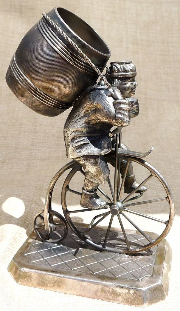 Rare Antique J.W.Tufts Boston Figural Bicycle Napkin Ring Holder