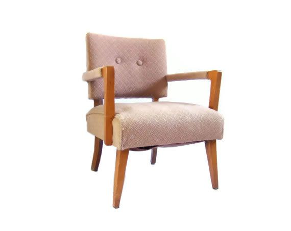 Vintage Slipper Chair Accent Armchair Pink Dusty Rose