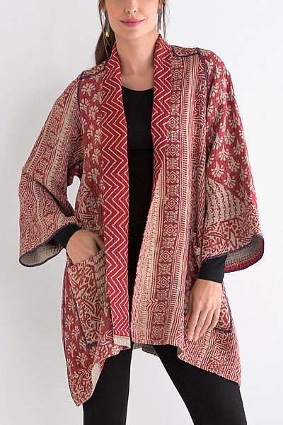 Kantha+A-Line+Jacket+#25 by Mieko+Mintz: Size+1+(2-16),+One+of+a+Kind available at www.artfulhome.com