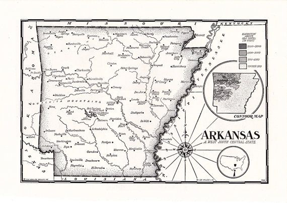 old map of Arkansas from the 1950's #antiquemaps #vintagemaps #oldmaps #arkansas