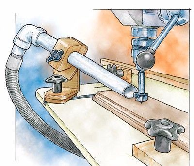 Suction Tube Positioning Fixture by Woodworker's Journal -- Homemade suction tube positioning fixture for a drill press, constructed from surplus lumber, nuts, a T-nut, and wing bolt. http://www.homemadetools.net/homemade-suction-tube-positioning-fixture