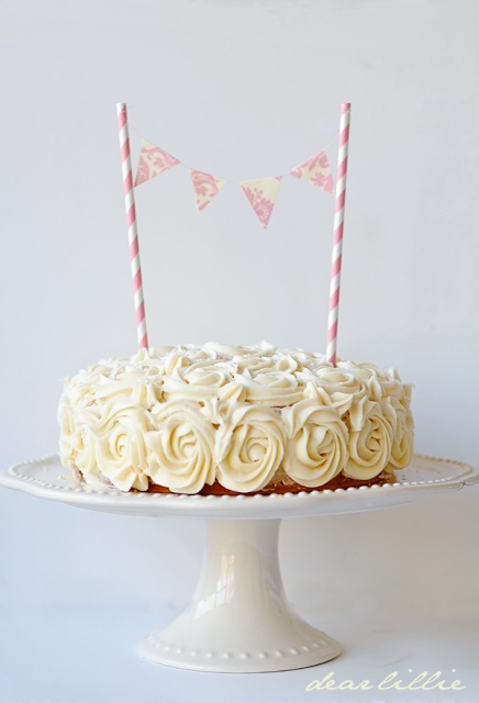 Dear Lillie: Lillie's Birthday Cake / love the rosette frosting & mini bunting