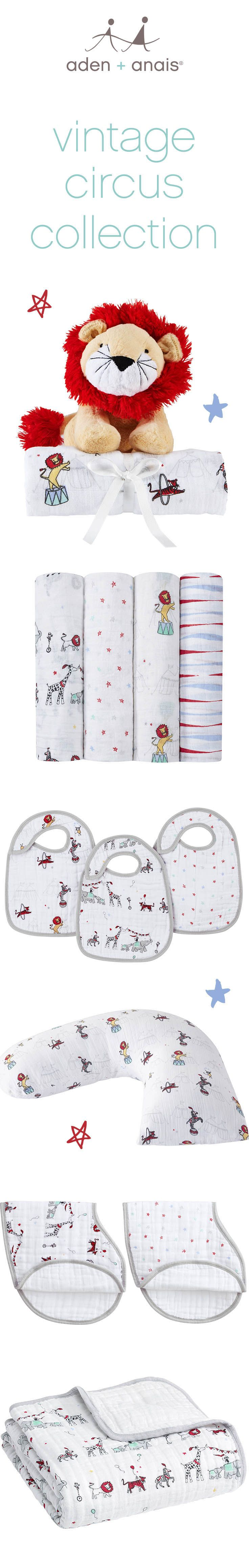 Every day's a celebration with our whimsical and classic vintage circus collection. From parading lions and elephants to twinkling stars and stripes, these cotton muslin essentials are the perfect addition to any baby nursery.