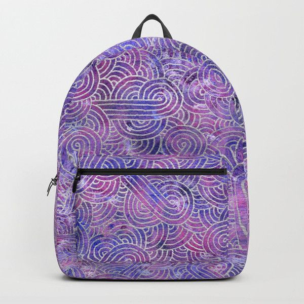 Purple and faux silver swirls doodles Backpack ($70) ❤ liked on Polyvore featuring bags, backpacks, doodle, grey, gray backpack, grey bag, purple backpack, faux-leather bags and purple bags