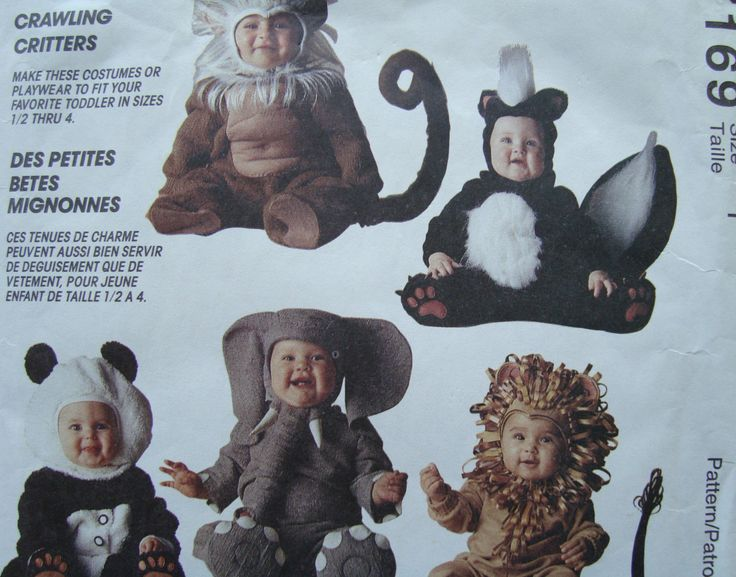 Halloween Costume Pattern/Vintage McCall's Costumes 7169 Toddler Size 1 Chest 20 inch/ skunk, lion, monkey, elephant, panda/ Uncut by RedWickerBasket on Etsy