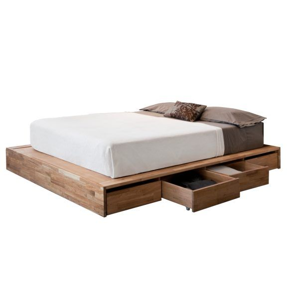 Furniture. Un Varnish Wooden Platform Bed With Storage Drawer Using White And Grey Bedding As Well As Wood Bed Frames Without Headboards And King Size Mattress And Frame. Magnificent Bed Frames Without Headboard For Simple Bedroom Interior