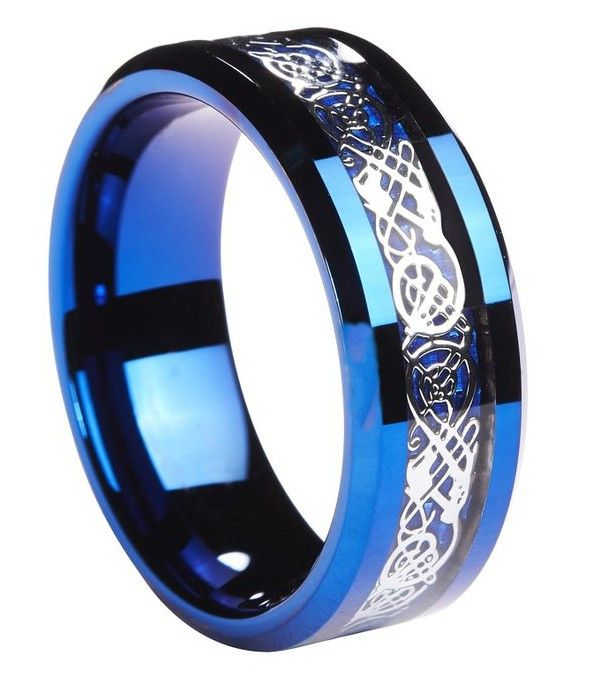 All Blue 8mm Tungsten Carbide Ring With Silver Celtic Inlay and Blue Carbon Fiber Inlay
