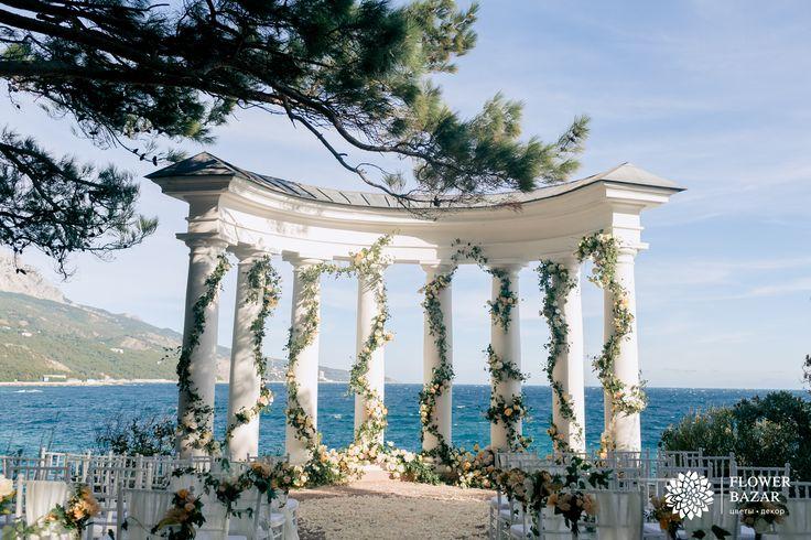 Свадебная церемония, свадебная арка, выездная церемония, свадебный декор, свадебный декор 2016, свадебные идеи, свадебные цветы, свадебные декорации, свадебные композиции, свадебный декор, ротонда, море, крым