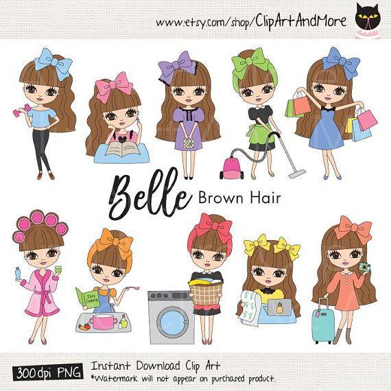 Brown Hair Girl Clipart Cute Brown Haired Girl Chores Clipart Etsy Girl with brown hair Clip art Girl clipart
