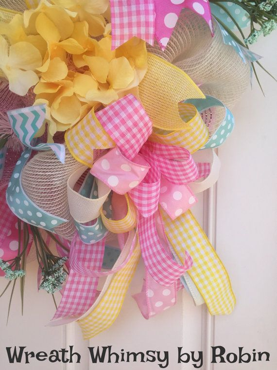 Cream, Pink, Mint Green & Yellow Deco Mesh Wreath with Spring sign. Give your en…