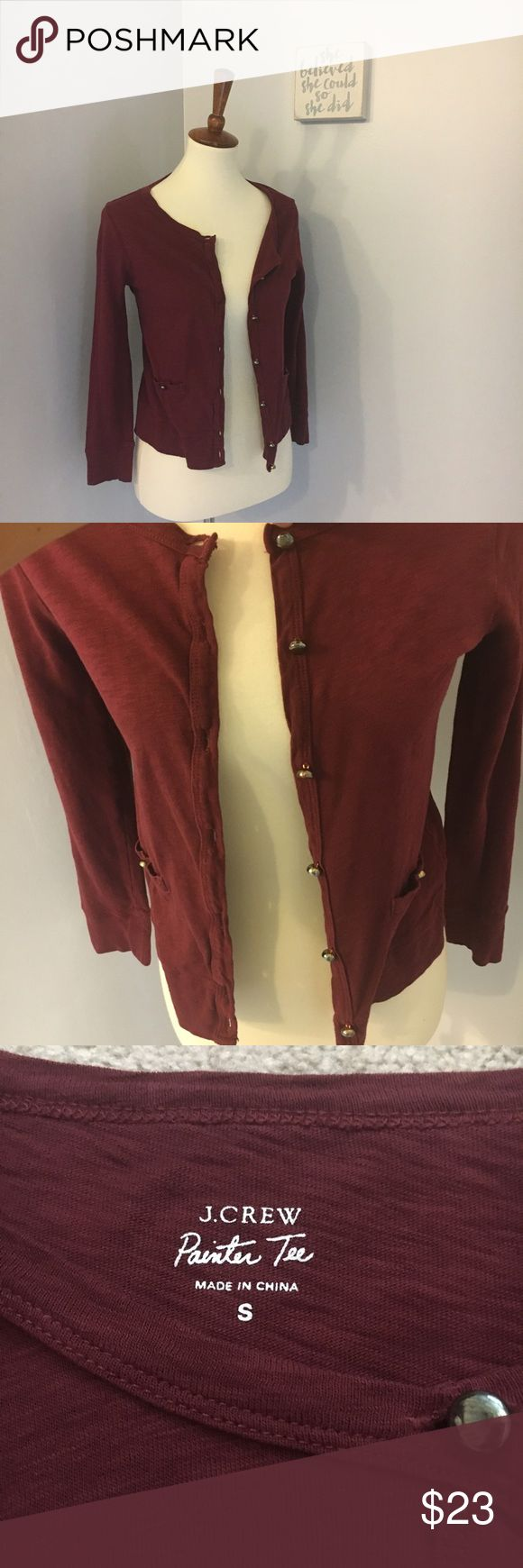 J. Crew painter tee maroon cardigan Size small. 15 inch bust (when buttoned) and 20 inch length. No trade J. Crew Sweaters Cardigans